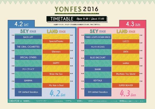 『YON FES 2016』タイムテーブル (okmusic UP's)