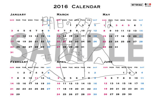 メンバー描き下ろしオリジナルポケットサイズカレンダー(山野楽器ver. 裏) (okmusic UP's)