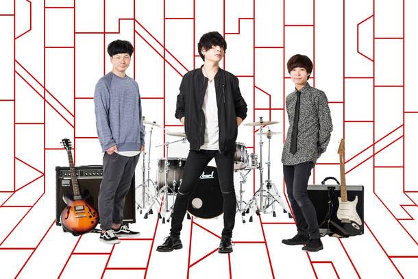 L→R 阪西 暢(Dr)、鬼頭大晴(Vo&Gu)、小鹿雄一朗(Gu)