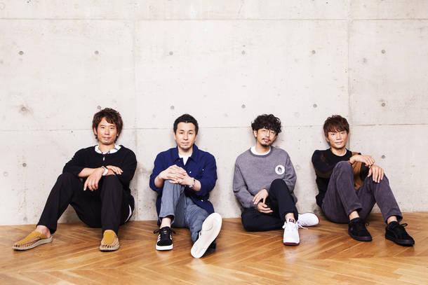 L→R 伊地知潔(Dr)、山田貴洋(Ba&Vo)、後藤正文(Vo&Gu)、喜多建介(Gu&Vo)