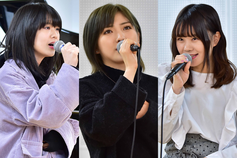 予選1位通過の岡田奈々(中央)、 2位通過のAKB48小田えりな(左)、 3位通過のAKB48立仙愛理(右)