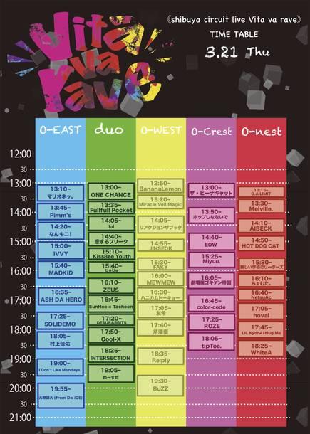 『shibuya circuit live Vita va rave』タイムテーブル