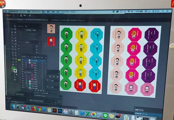 2.色付け:イラストをPCに取り込んで色付け。ポップな色合いがキュート◎