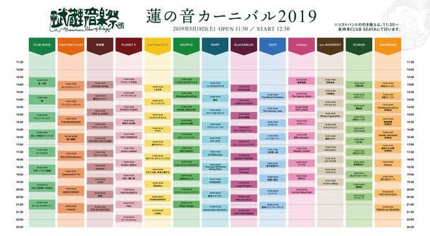 『武蔵野音楽祭 蓮の音カーニバル』タイムテーブル