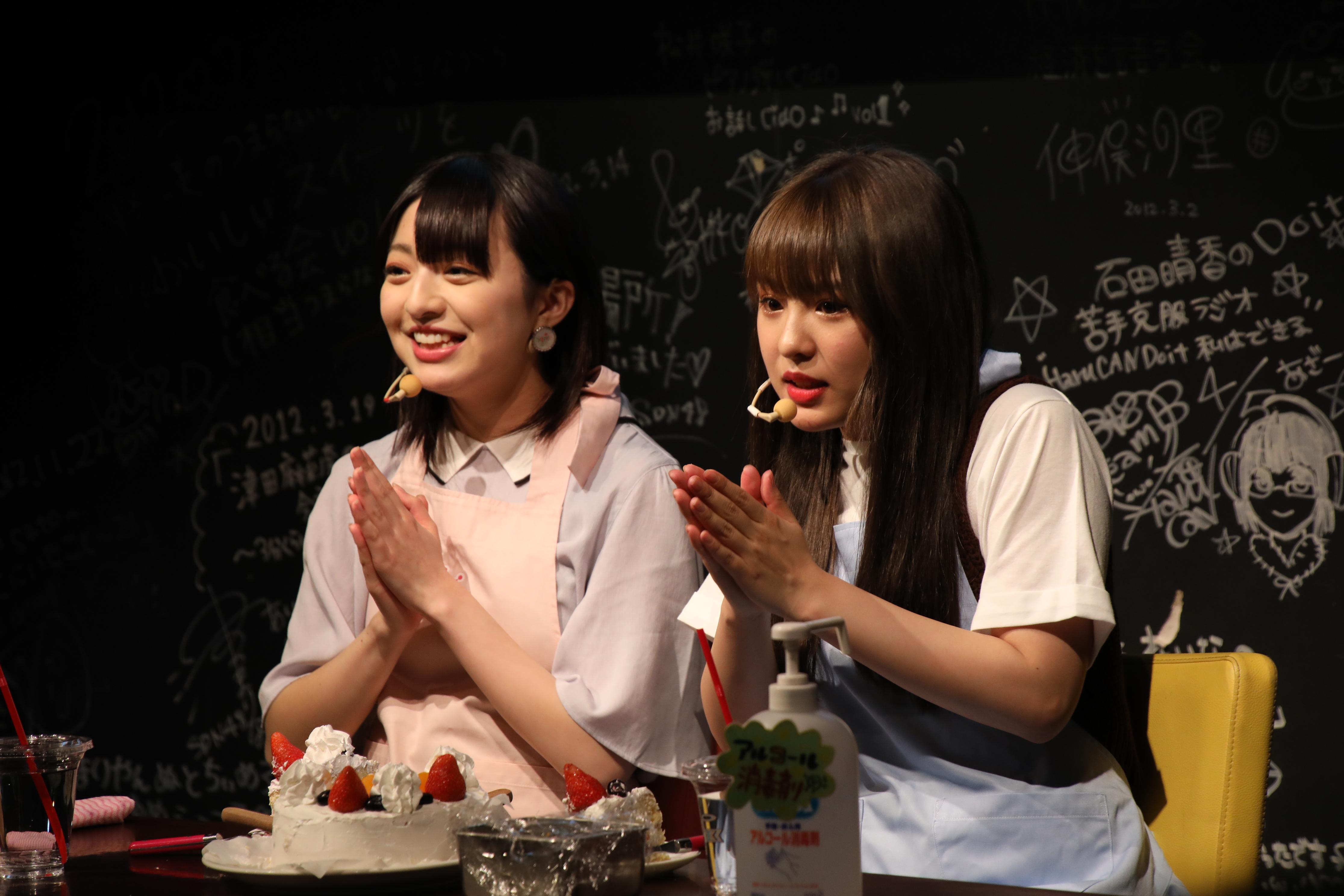 「Wななみ」(佐藤七海と山田菜々美)でファンと一緒にケーキを食べながらトーク