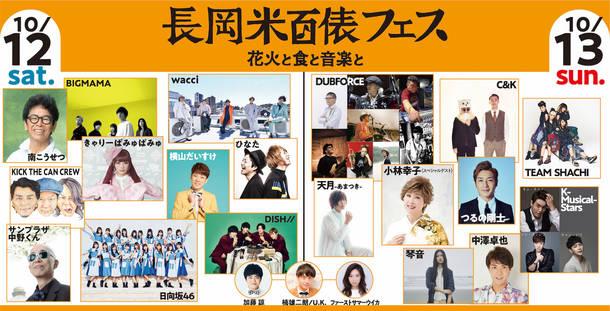 『長岡米百俵フェス〜花火と食と音楽と〜』第2弾出演者