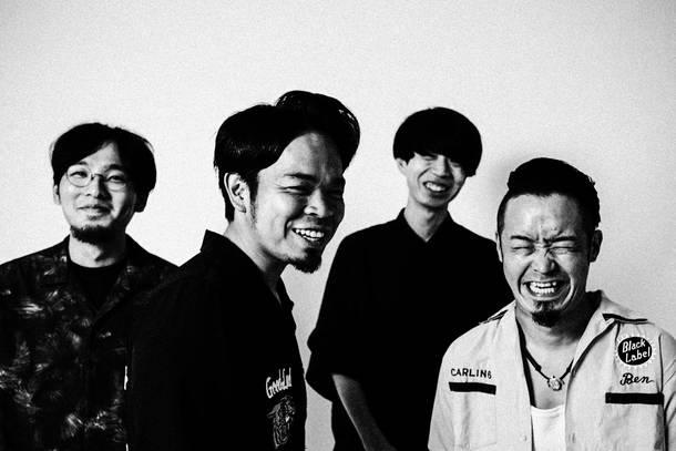 L→R 松村卓巳(Gu)、安田コウヘイ(Vo&Gu)、小林卓矢(Ba)、鯉沼 遼(Dr)