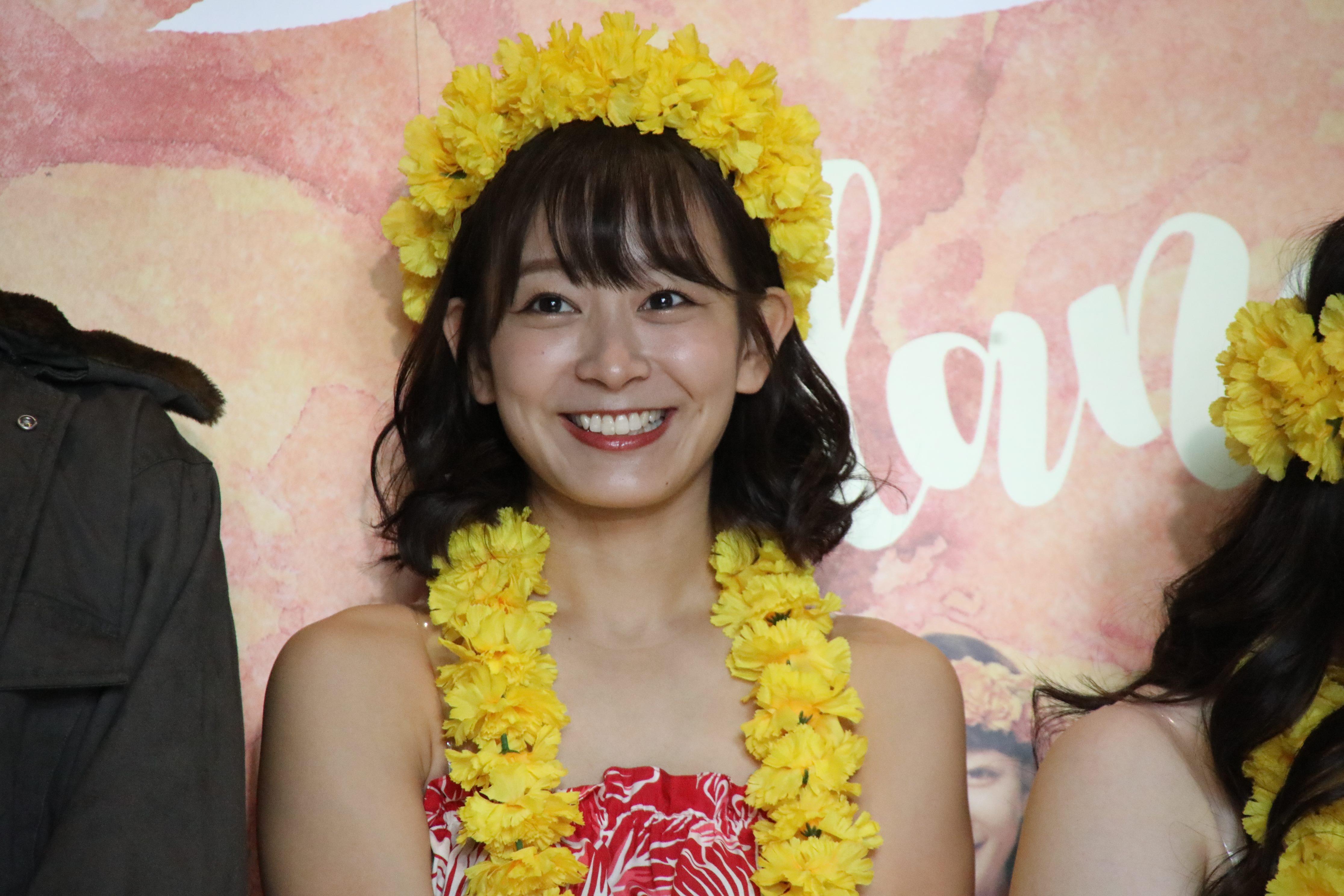 舞台「フラガール」の囲み取材での太田奈緒