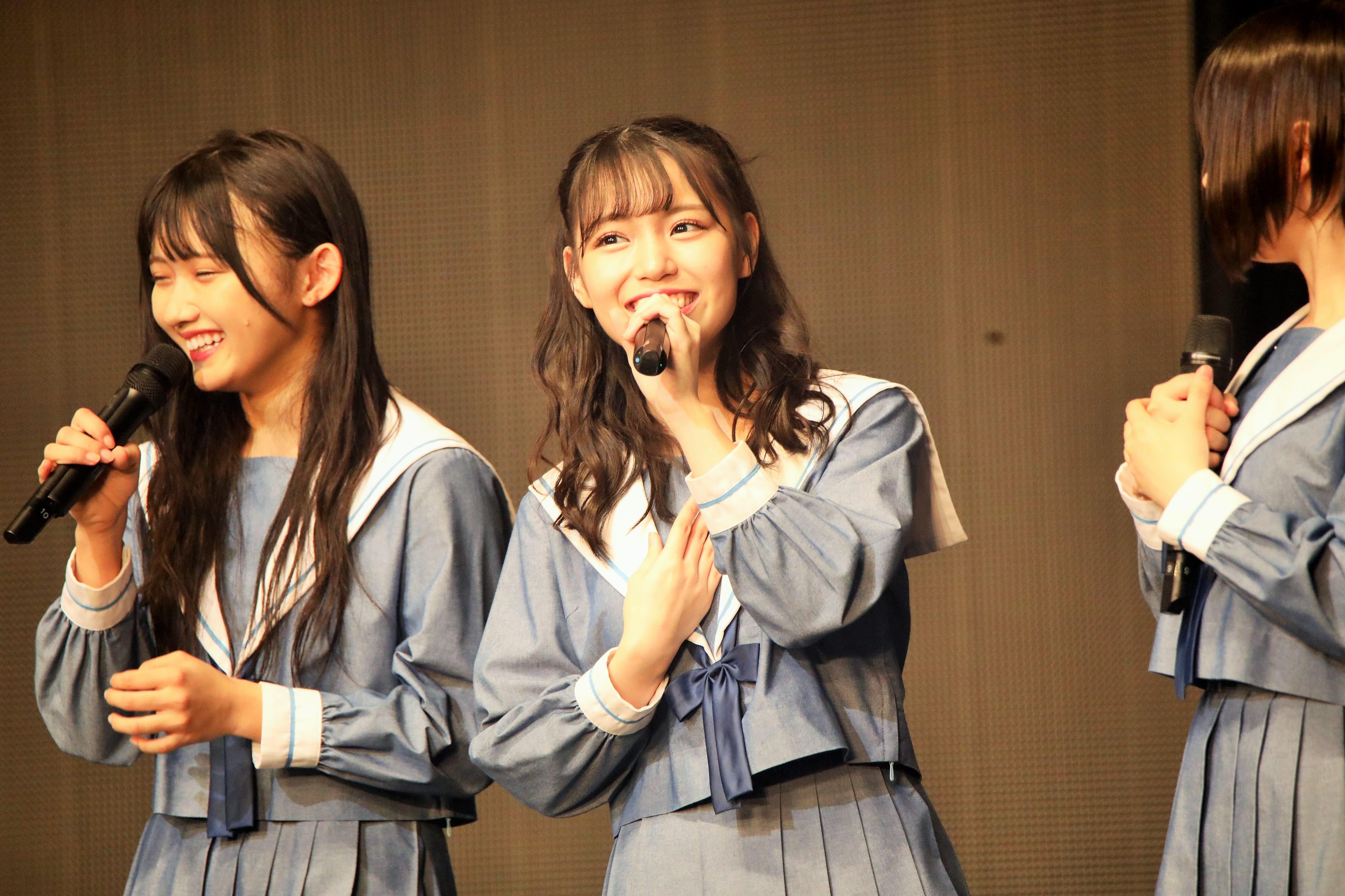 """STU48岩田陽菜「こんなに大きなステージで一人で立って、震えるくらい緊張しました!一人で立つということが""""おぉ!""""となるんだなと改めて感じました。皆さんもコール、ありがとうございました!」"""