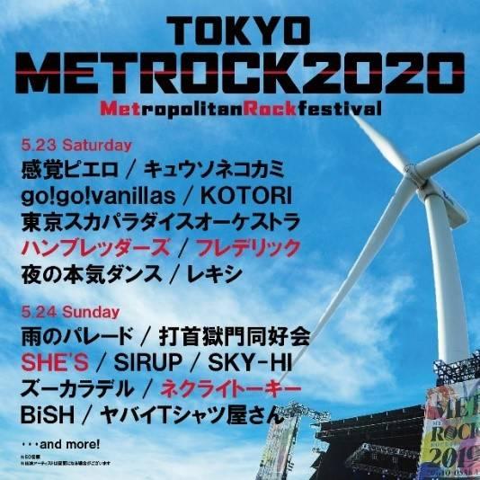 『TOKYO METROPOLITAN ROCK FESTIVAL 2020』出演アーティスト