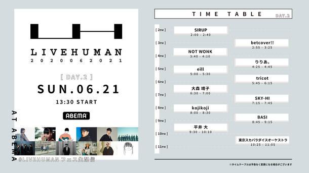 『LIVE HUMAN 2020』タイムテーブル