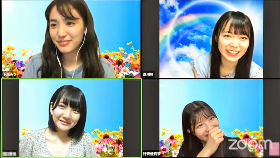 上段左から:下尾みう西川怜、下段左から田口愛佳、行天優莉奈 (C) AKB48