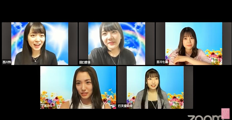 上段左から:西川怜、田口愛佳、吉川七瀬 下段左から下尾みう、行天優莉奈 (C) AKB48