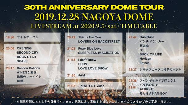 『THE YELLOW MONKEY 30th Anniversary DOME TOUR 2019.12.28 ナゴヤドーム』公演タイムテーブル