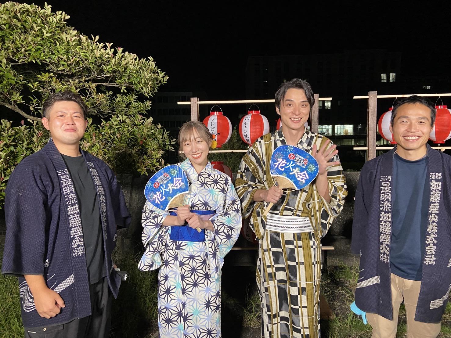 加藤煙火の花火師と 須田亜香里(SKE48)、 大前りょうすけ