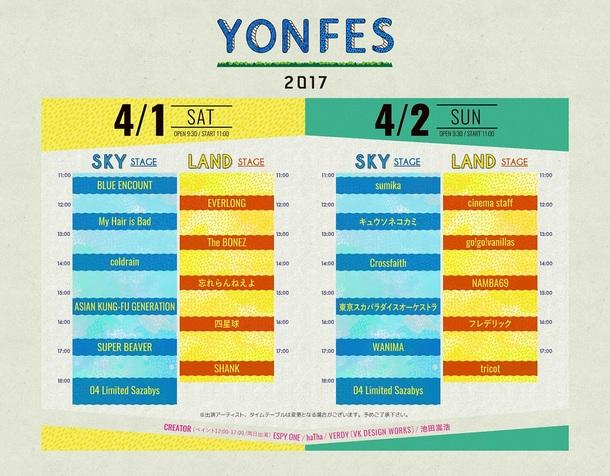 「YON FES 2017」タイムテーブル