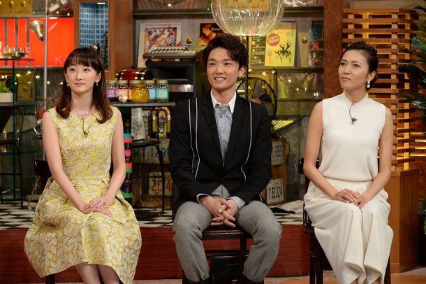 V6・坂本昌行とともに出演のゲスト(左から花總まり、井上芳雄、安蘭けい) (c)テレビ朝日