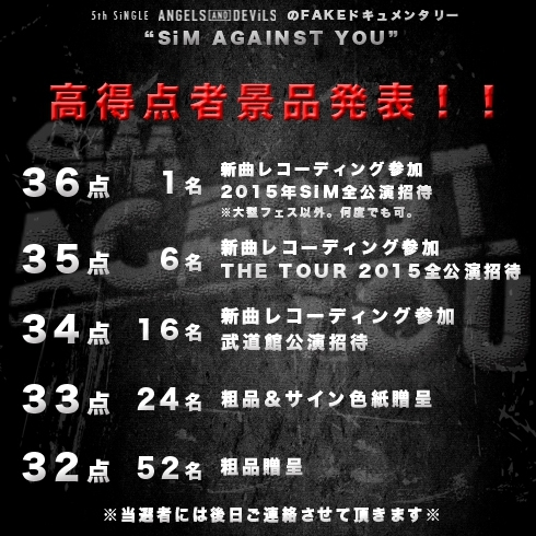 「SiM AGAINST YOU」景品