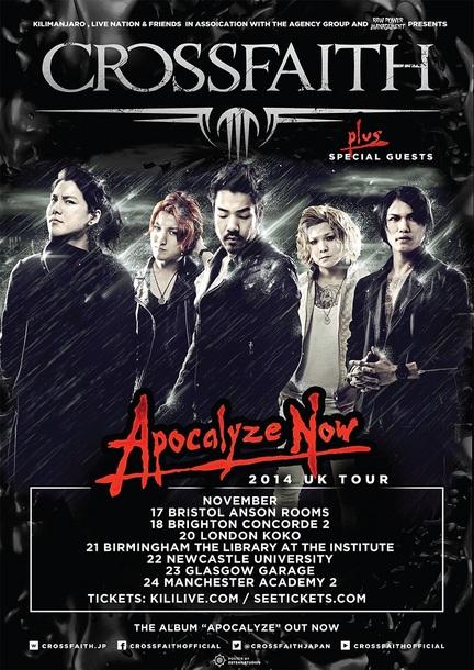 Crossfaith自身初のヘッドライナー全英ツアー『APOCALYZE NOW 2014 UK TOUR』ポスター