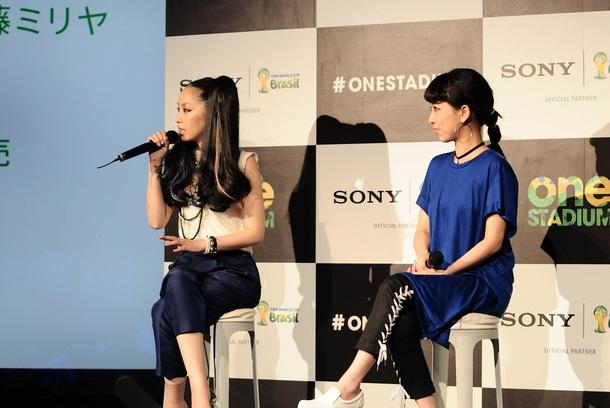 中島美嘉×加藤ミリヤが2014 FIFA ワールドカップ スペシャル・イベント「ONE STADIUM at Sony Building」オープニング・イベントに参加