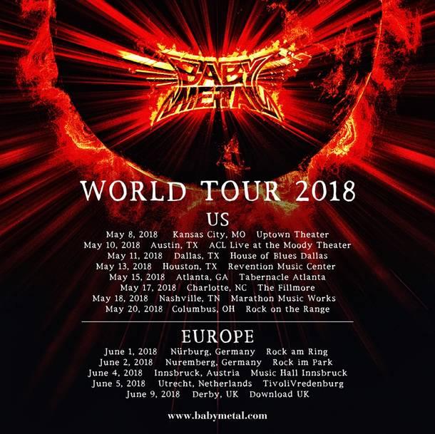 『BABYMETAL WORLD TOUR 2018』日程詳細