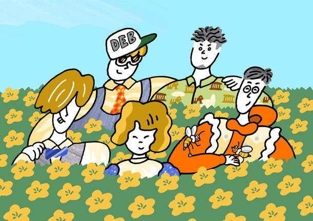 L→R 長島涼平(Ba)、ひろせひろせ(Key)、おかもとえみ(Vo)、SEKIGUCHI LOUIE(Dr)、三浦太郎(Gu)