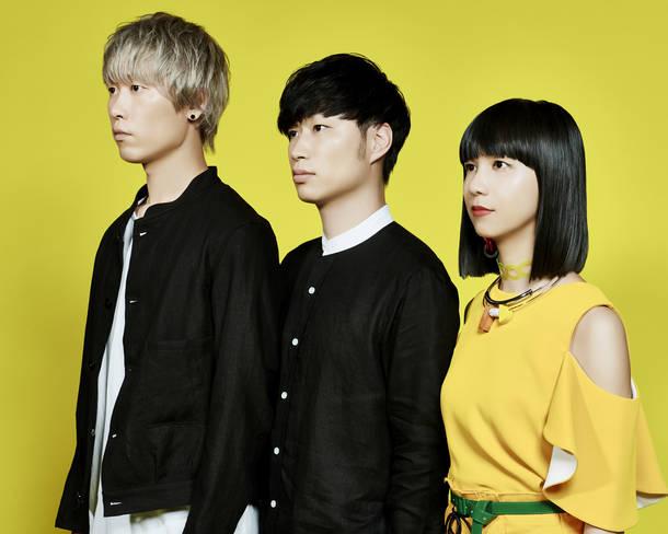 L→R 三輪幸宏(Dr)、内田旭彦(Ba&Cho&Prog)、森 彩乃(Vo&Key)