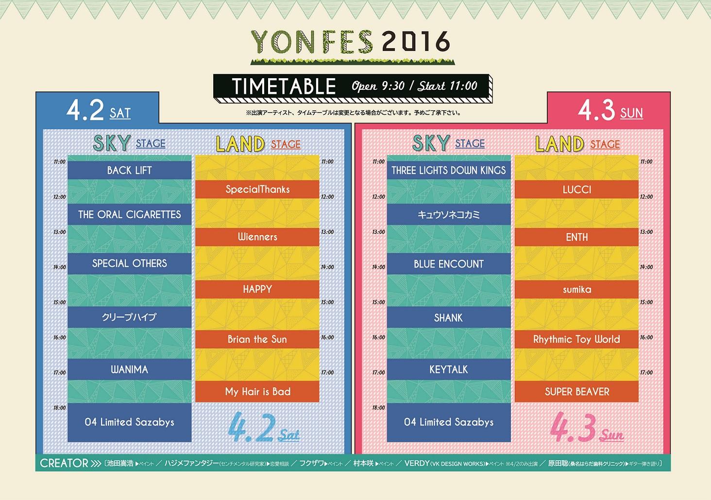 『YON FES 2016』タイムテーブル