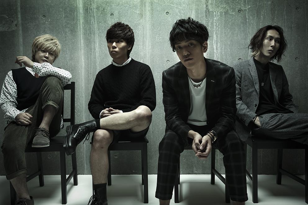 L→R たく(Ba)、LOVE大石(Dr)、PON(Vo&Gu)、イコマ(Gu&Cho)