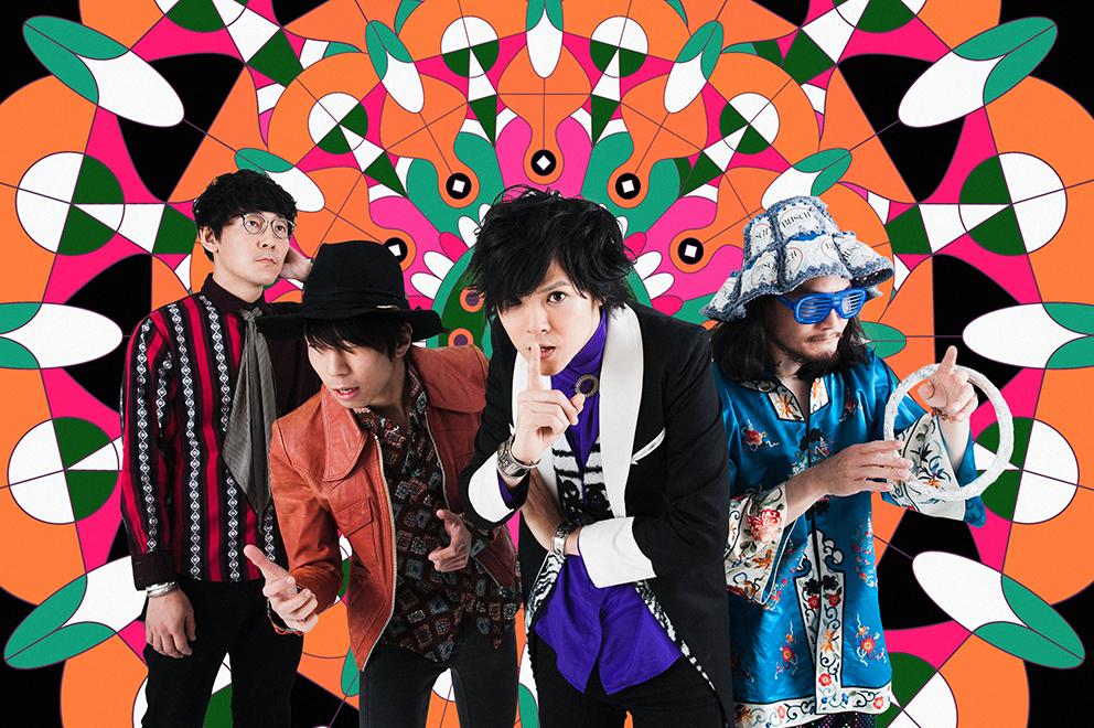 L→R カワノケンタ(Dr)、カメダタク(Key)、タカハシヒョウリ(Vo&Gu)、ツダフミヒコ(Ba)