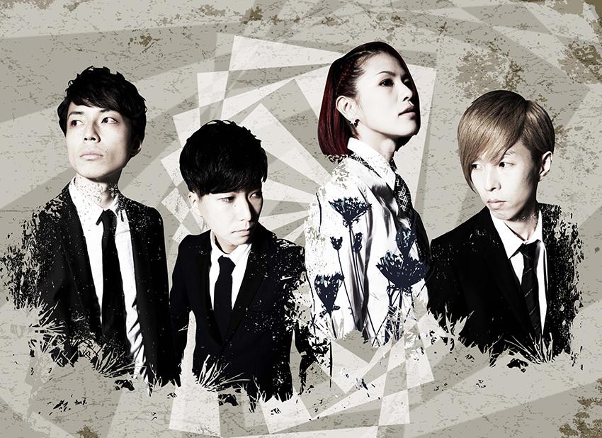 L→R アベノブユキ(Ba)、青山友樹(Dr)、きみコ(Vo&Gu)、ササキジュン(Gu)