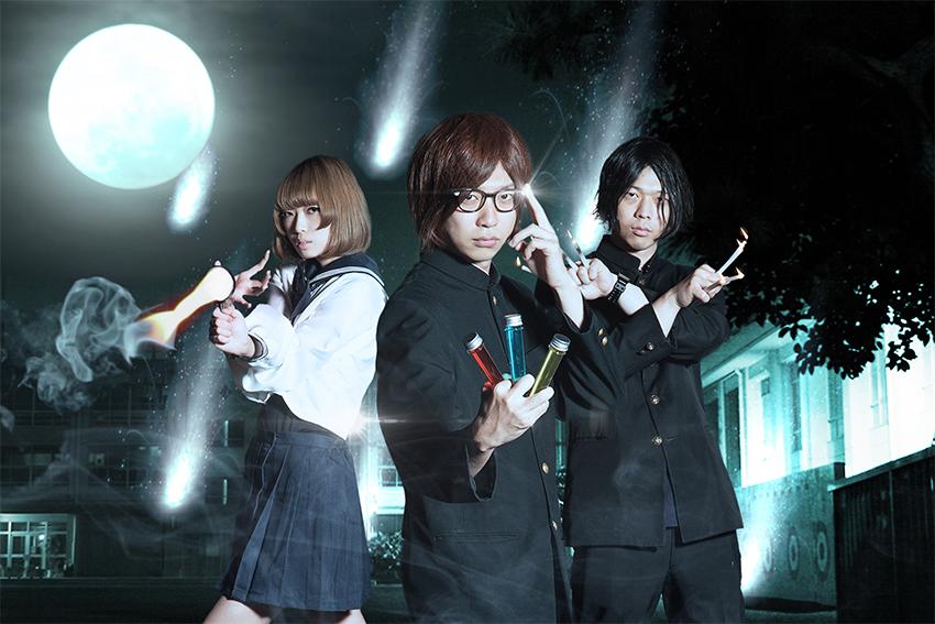 L→R 岸波 藍(Dr&Cho)、土肥大人(Vo&Gu)、ココナッツ先輩(Ba&Cho)