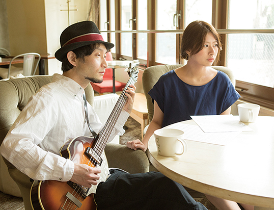 L→R 小林治郎(Compose&Gu&Ba)、Erika(Vo)