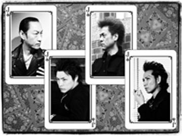 L→R 北里晃一(Ba&Vo)、佐々木 周(Dr&Vo)、苣木寛之(Gu&Vo)、森山達也(Vo&Gu)
