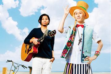 L→R 吉田結威(Vo&Gu)、山田義孝(Vo&簡単で不思議な楽器担当)