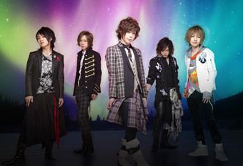 L→R タケヒト(Gu)、インテツ(Ba)、葵(Vo)、ケンゾ(Dr)、夢人(Gu)