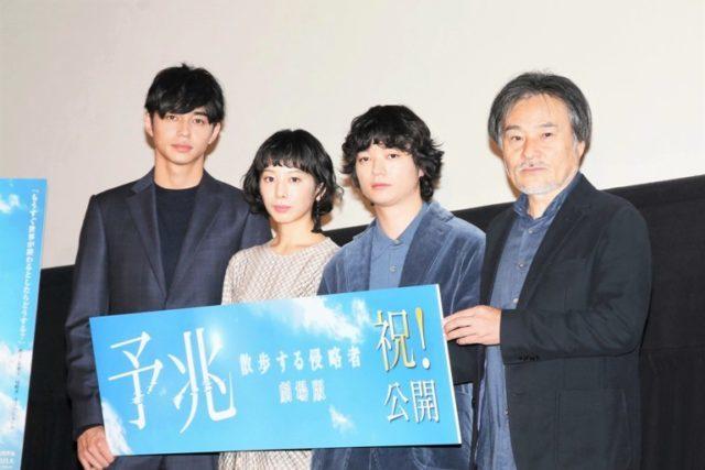(左から)東出昌大、夏帆、染谷将太、黒沢清監督