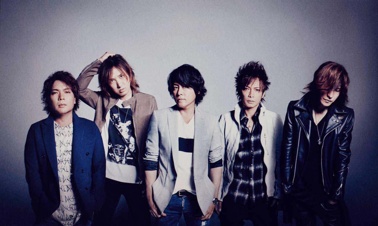 L→R 真矢(Dr)、J(Ba)、RYUICHI(Vo)、INORAN(Gu)、SUGIZO(Gu&Violin)