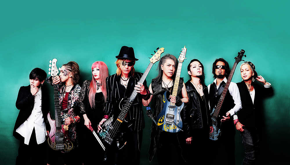 Tribal Scream of Phoenix   L to R:恵依(【K】/ vo)、渡辺ゆう(you +/ b)、HINA(ds&vo)、TAIJI(b)、Shu(g)、RIKI(vo)、THUNDER(b)、Kouzy(vo)
