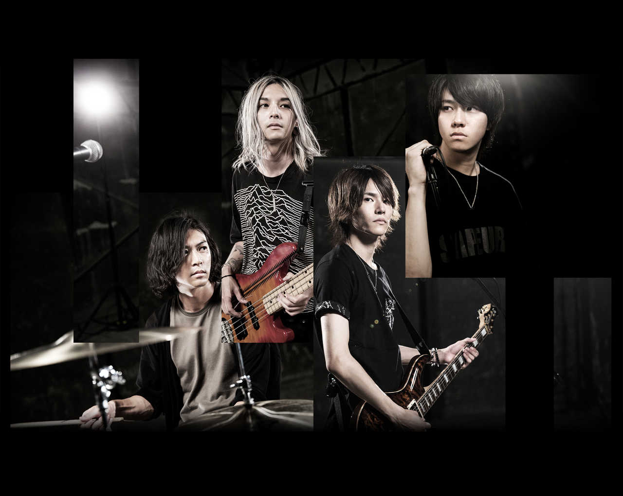 L→R 川村篤史(Dr&Cho)、安井剛志(Ba&Cho)、森丘直樹(Gu&Cho)、木村涼介(Vo)