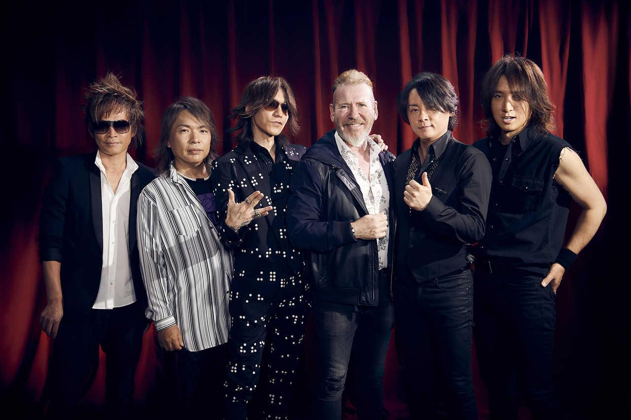 L→R INORAN(Gu)、真矢(Dr)、SUGIZO(Gu&Violin)、スティーヴ・リリーホワイト、RYUICHI(Vo)、J(Ba)