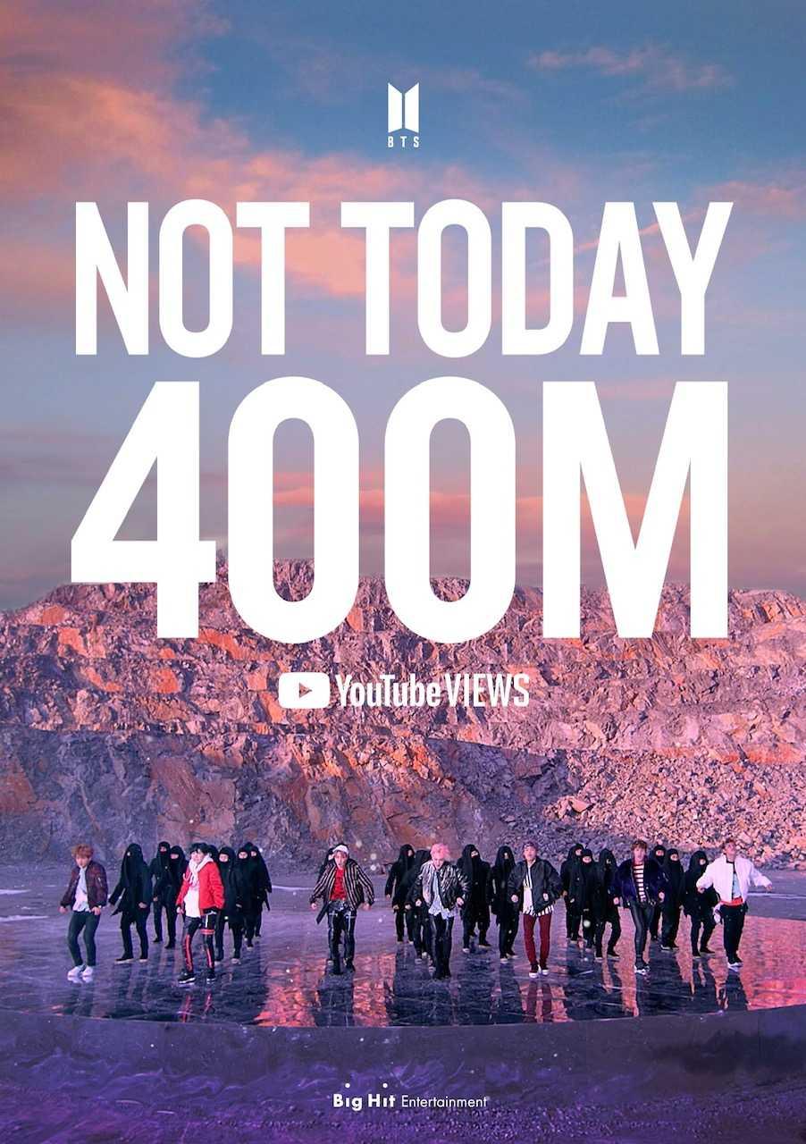BTS、「Not Today」ミュージックビデオ4億再生突破!相次ぐ記録大更新!