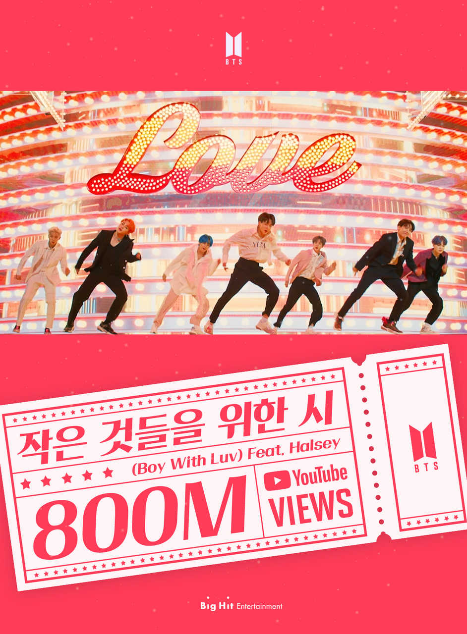 BTS「Boy With Luv (Feat. Halsey)」ミュージックビデオ8億再生突破!