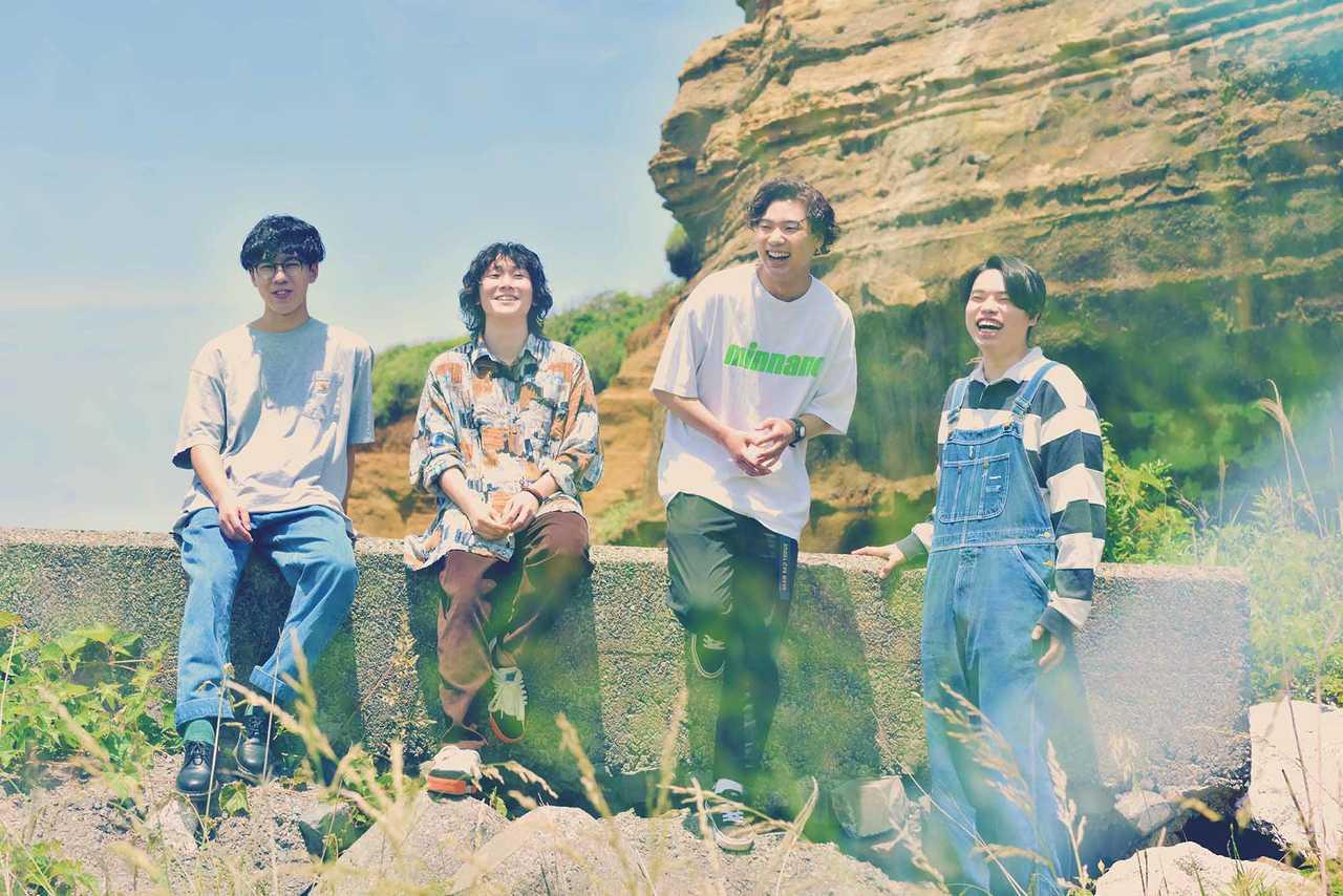 L→R 田中そら(Ba)、安藤太一(Gu&Cho)、佐藤 赳(Gu&Vo)、伊藤克起(Dr)