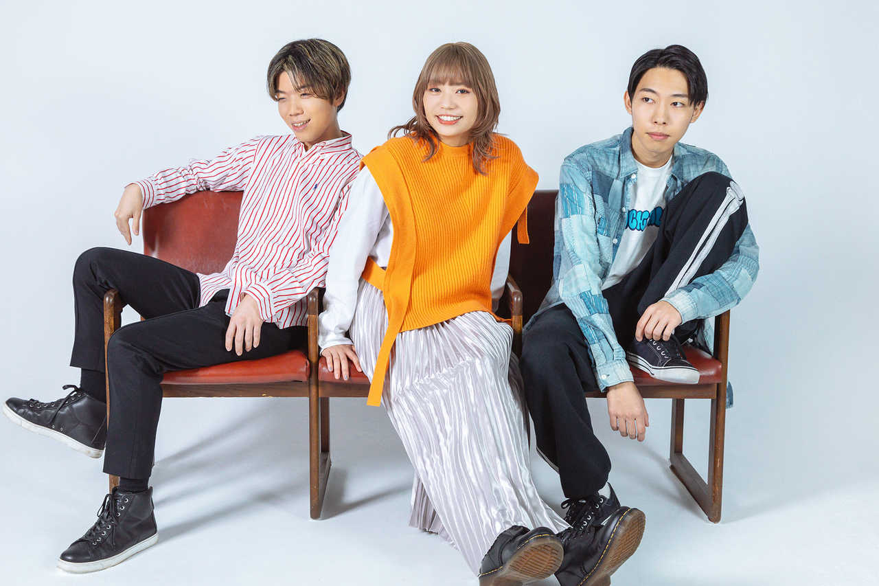 L→R 匠(Ba)、ちなみ(Vo&Gu)、大吉(Gu)