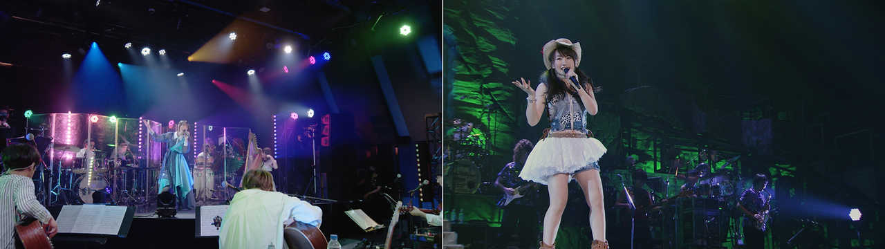 左:「No Rain, No Rainbow」(『NANA ACOUSTIC ONLINE』より) 右:「Violetta」(『NANA MIZUKI LIVE ADVENTURE 2015』@大阪城ホール)
