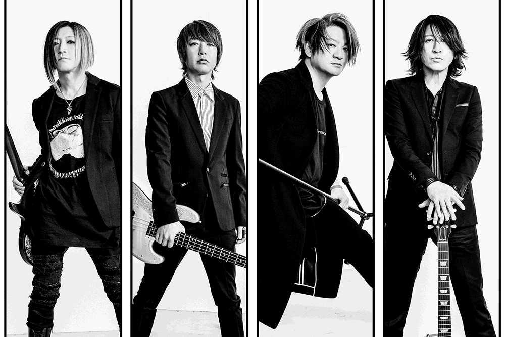 L→R HISASHI(Gu)、JIRO(Ba)、TERU(Vo)、TAKURO(Gu)
