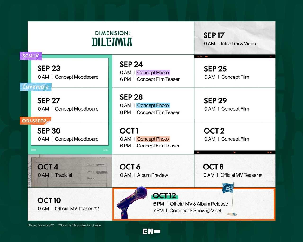 ENHYPEN  新アルバム『DIMENSION:DILEMMA』  プロモーションカレンダーで多彩なコンテンツを予告!